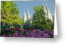 Slc Temple Flowers Greeting Card