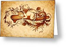 Sleeping Angel Original Coffee Painting Greeting Card