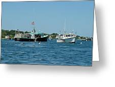 Sleepy Boats At Chatham - Cape Cod  Ma Greeting Card