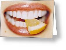 Slice Of Lemon Between Teeth Greeting Card