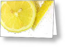Sliced Lemon In Fizzy Water Greeting Card