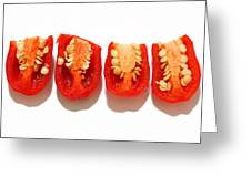 Sliced Red Peppers Greeting Card