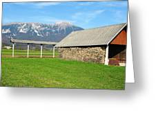 Slovenian Hayrack And Woodpile Greeting Card