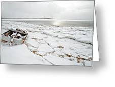Small Boat Sits On Ice Chuncks In Wellfleet On Cape Cod In Winte Greeting Card