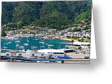 Small Idyllic Yacht Harbor  Greeting Card