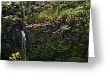 Small Waterfall - Hana Highway Greeting Card