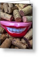 Smile Among Wine Corks Greeting Card