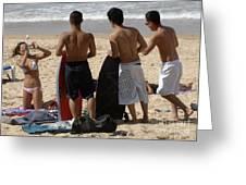 Smile Boys Bondi Beach Australia Greeting Card
