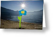 Smile Flower On The Beach Greeting Card