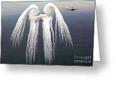 Smoke Angel Created By Wingtip Vortices Greeting Card by Photo Researchers