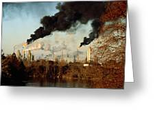 Smoke Billows From The Exxon Oil Greeting Card