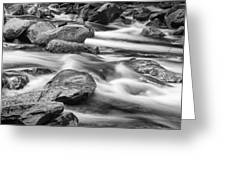 Smokey Mountain Stream Of Flowing Water Over Rocks Greeting Card