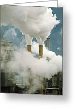Smoking Chimneys Of A Paper Mill Polluting The Air Greeting Card