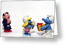 Smurf Figurines Greeting Card by Amir Paz