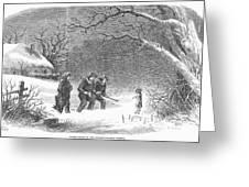 Snaring Rabbits, 1867 Greeting Card