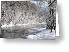 Snow At The Creek Greeting Card