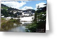 Snow At Tipsoo Lake Greeting Card