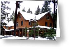 Snow Atop The Inn At Longmire Greeting Card