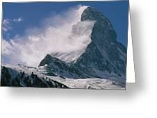 Snow Blows Off Of The Matterhorn Greeting Card