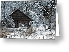 Snow Covered Barn Greeting Card