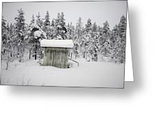 Snow Covered Cabin By Forest Greeting Card