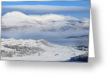 Snow Covered Landscape In Winter Near Greeting Card