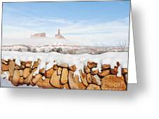 Snow Covered Rock Wall Greeting Card