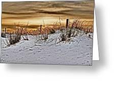 Snow Fence On Horizon Greeting Card