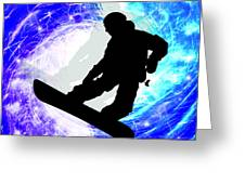Snowboarder In Whiteout Greeting Card