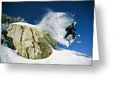Snowboarder Jumping Off A Big Rock Greeting Card