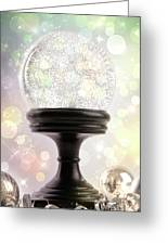 Snowglobe With Ornaments Against Colored Background Greeting Card