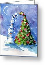 Snowman Christmas Tree Greeting Card