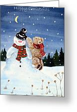 Snowman In Top Hat Greeting Card by Gordon Lavender