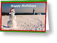 Snowman With Santa Hat Greeting Card