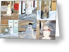 Snowmen Antics. Greeting Card
