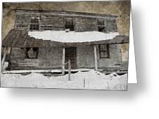 Snowy Abandoned Homestead Porch Greeting Card