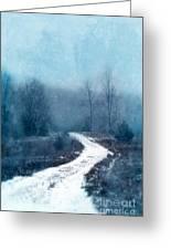 Snowy Foggy Rural Path Greeting Card