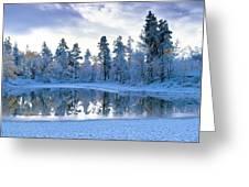 Snowy Lake Greeting Card by David Nunuk