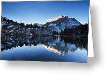 Snowy Mountain Reflections Greeting Card