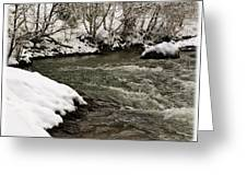Snowy Mountain River Greeting Card