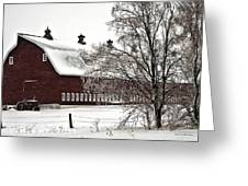 Snowy Red Barn Greeting Card
