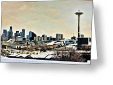 Snowy Seattle Greeting Card
