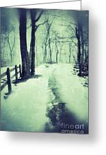 Snowy Wooded Path Greeting Card