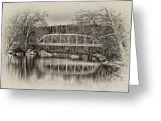 Snyder Road Bridge At Green Lane Park In Sepia Greeting Card