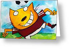 Soccer Cat 4 Greeting Card