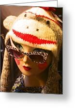 Sock Monkey Zebra Glasses Greeting Card