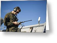Soldier Conducts A Communications Check Greeting Card