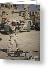 Soldier Fires A M4 Carbine Greeting Card