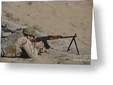 Soldier Fires A Russian Rpk Kalashnikov Greeting Card