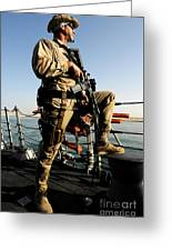 Soldier Stands Watch Aboard Uss Momsen Greeting Card